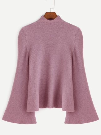 Dark Pink Mock Neck Bell Sleeve Jersey Sweater