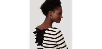 Striped Laceup Back Sweater