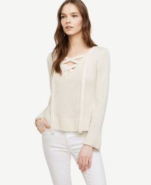 Wool Cashmere Lace Up Sweater