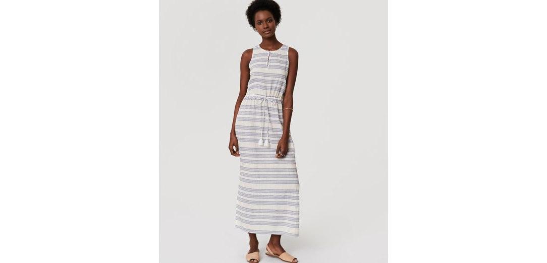 Loft Beach Shimmer Stripe Drawstring Dress