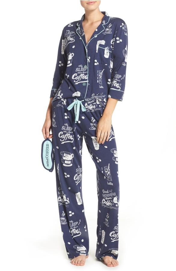 Playful Print Pajamas and Eye Mask